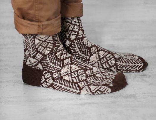 Теплые шерстяные носки с рисунком «Шишки»