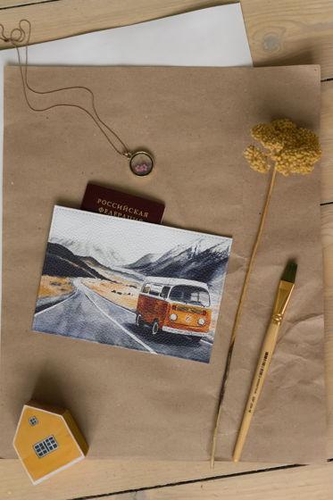 """Кожаная обложка для паспорта с авторским принтом """"Автобус"""""""
