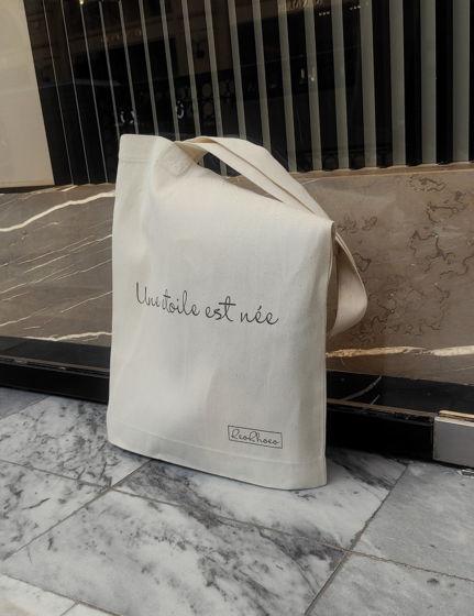 """Сумка-шоппер изо льна с надписью """"Une étoile est née"""""""