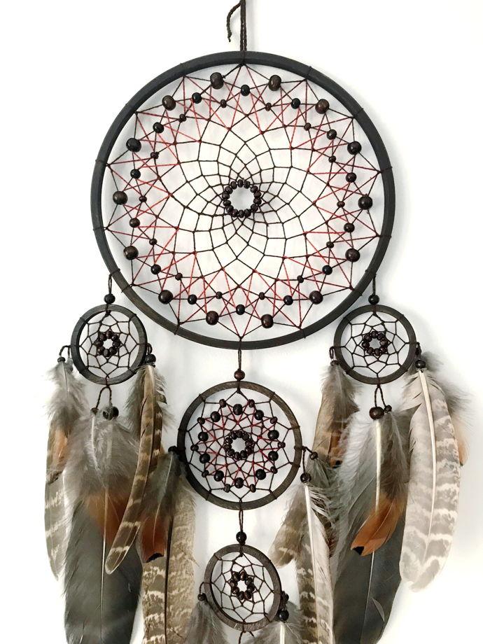 Сет из трех ловцов снов с натуральными перьями