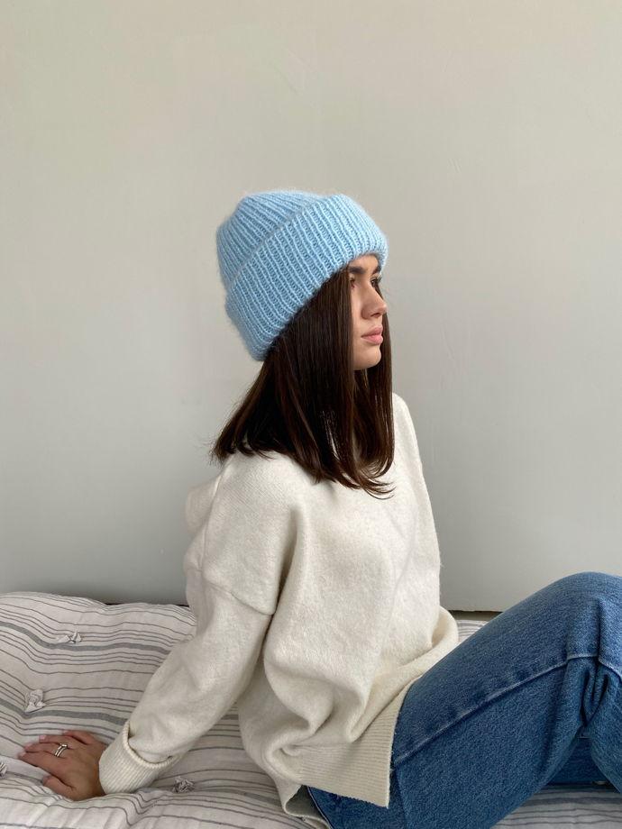Двухслойная шапка из мохера, цвет мятный