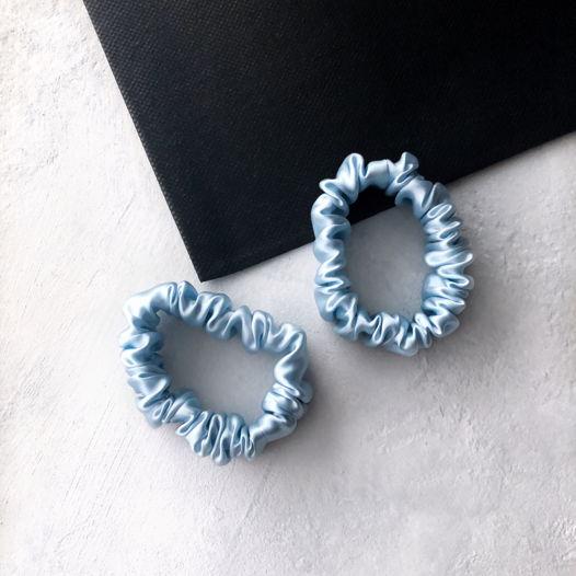 Шёлковые резинки для волос 2 шт  • Mini • blue