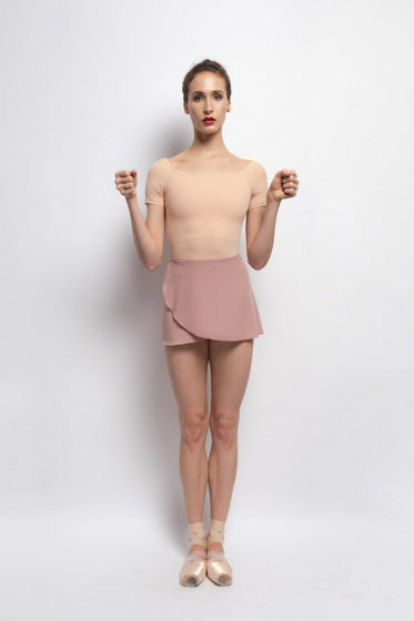 Юбка на запах в пудовом и сером цветах для балета / танцев