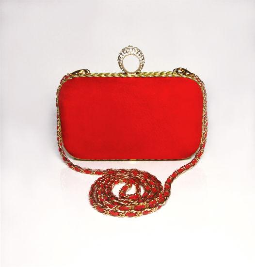 Клатч красный замшевый с застёжкой-кольцом