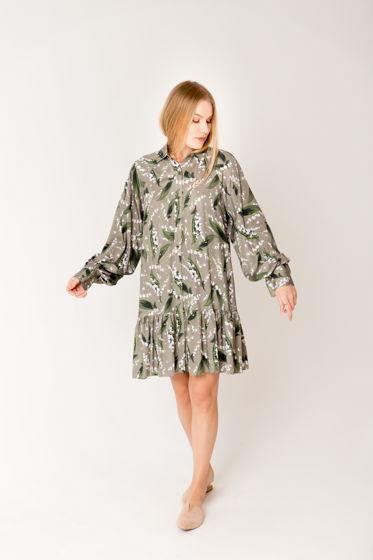 Платье Ландыши с объемными рукавами из нежной вискозы