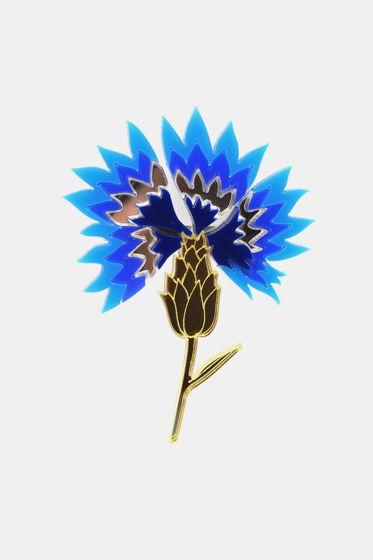 Брошь Синий Василёк, Цветок / органическое стекло