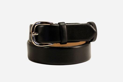 Кожаный ремень для джинсов черный