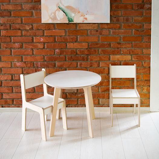 Детский круглый стол и два стула Kiddy's Store, комплект детской мебели стол и два стула деревянный, натурального и белого цвета