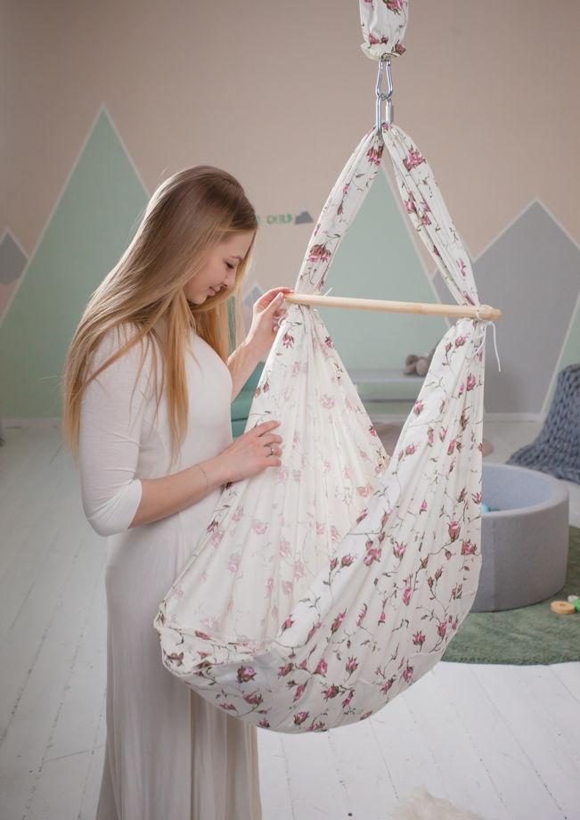 Люлечка-гамак  для новорождённых льняная 0+