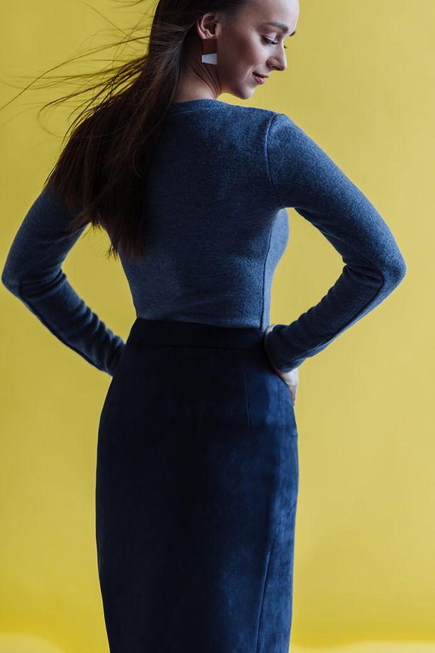 Синий джемпер из ангорской шерсти