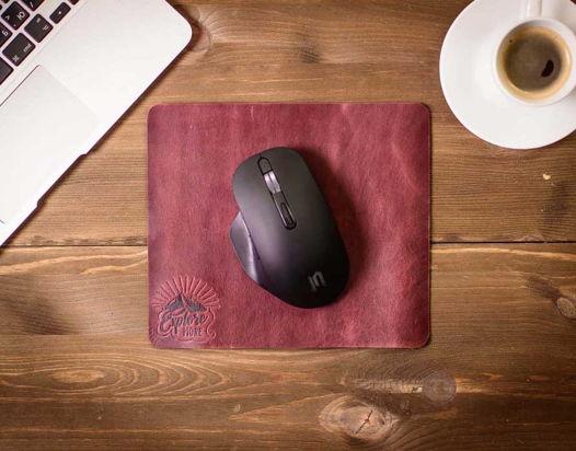 Кожаный коврик для мыши -SLIDE- цвет Бордо