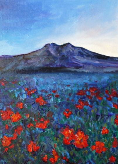 """""""Синие горы, красные цветы"""" горный пейзаж маслом"""