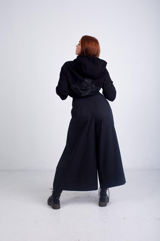 Кюлоты черного цвета из премиального хлопка с корсетным поясом