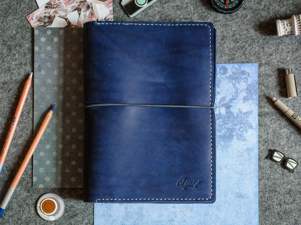 Скетчбук-органайзер из кожи -LEGACY- со сменными тетрадями А5 цвет Ocean Blue / Обложка Moleskine, Field Notes