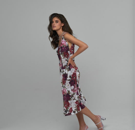 Tarragona Floral | Женское платье-комбинация длины миди на тонких лямках с цветочным принтом