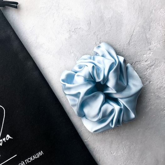 Шёлковая резинка для волос  • Maxi • blue