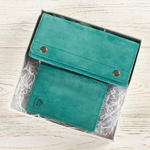 Подарочный набор из замши бирюзовый  (кошелек + обложка для паспорта)