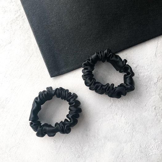 Шёлковые резинки для волос 2 шт  • Mini • black