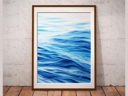 """Печатный постер с авторской акварельной картины """"Волны"""""""