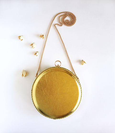 Клатч круглый золотой из натуральной кожи Golden Circle