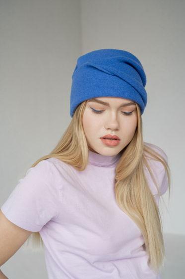 Шапка-колпак из шерсти, цвет голубой