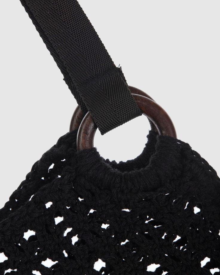 Сумка вязанная черная авоська