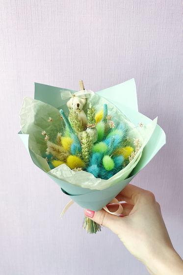 """Детский букетик из сухоцветов №7 """"Салатовый"""""""