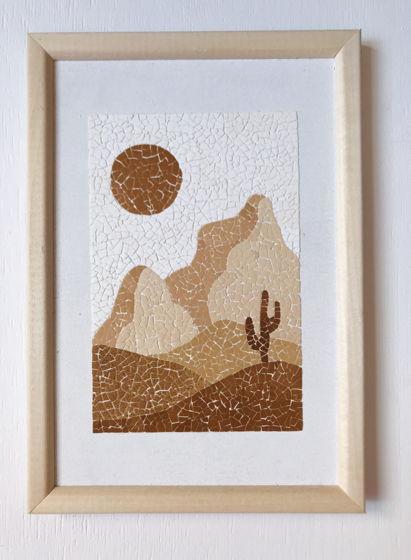 """Картина """"Солнечный пейзаж"""" ручной работы из яичной скорлупы натуральных оттенков"""