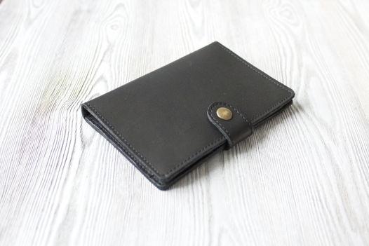 """Черное портмоне для паспорта, карт, банкнот и мелочи """"Графит"""""""