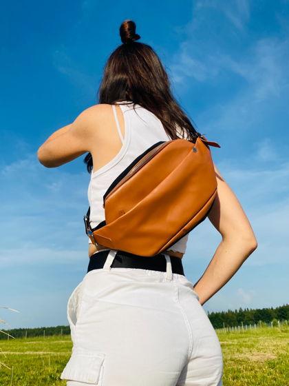 Кожаная поясная сумка  Guarda рыжая limited