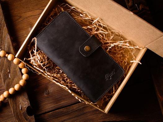 Кошелек из кожи -ESQUIRE- портмоне с отделением для монет и телефона цвет Черный Уголь