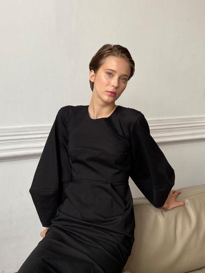 Платье черное с объемными рукавами