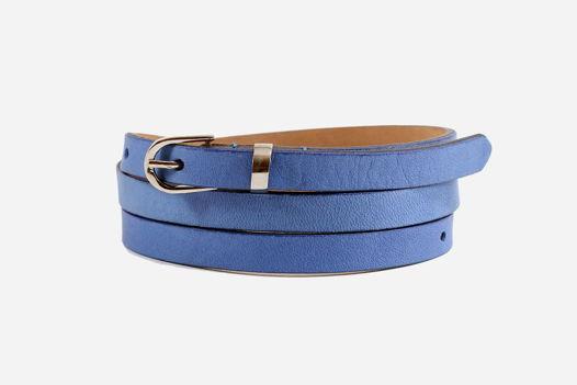 Узкий кожаный синий ремень
