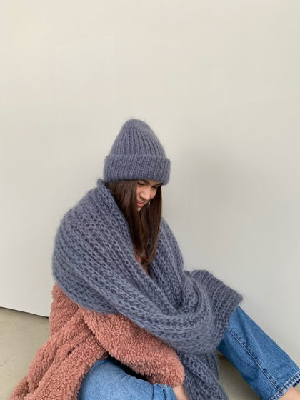 Комплект двухслойная шапка+шарф из мохера, цвет графит