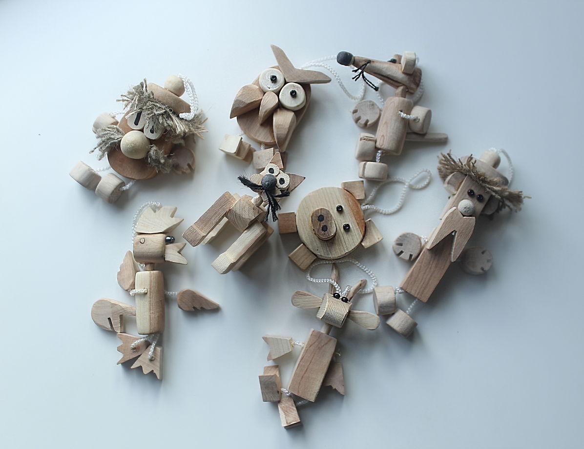 Елочные игрушки животные можжевеловые