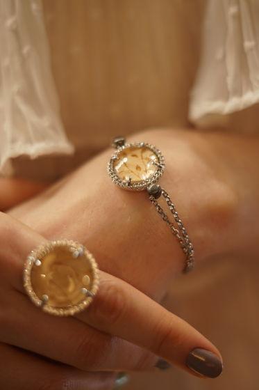 Двойной браслет покрытый родием коллекция Кристалл