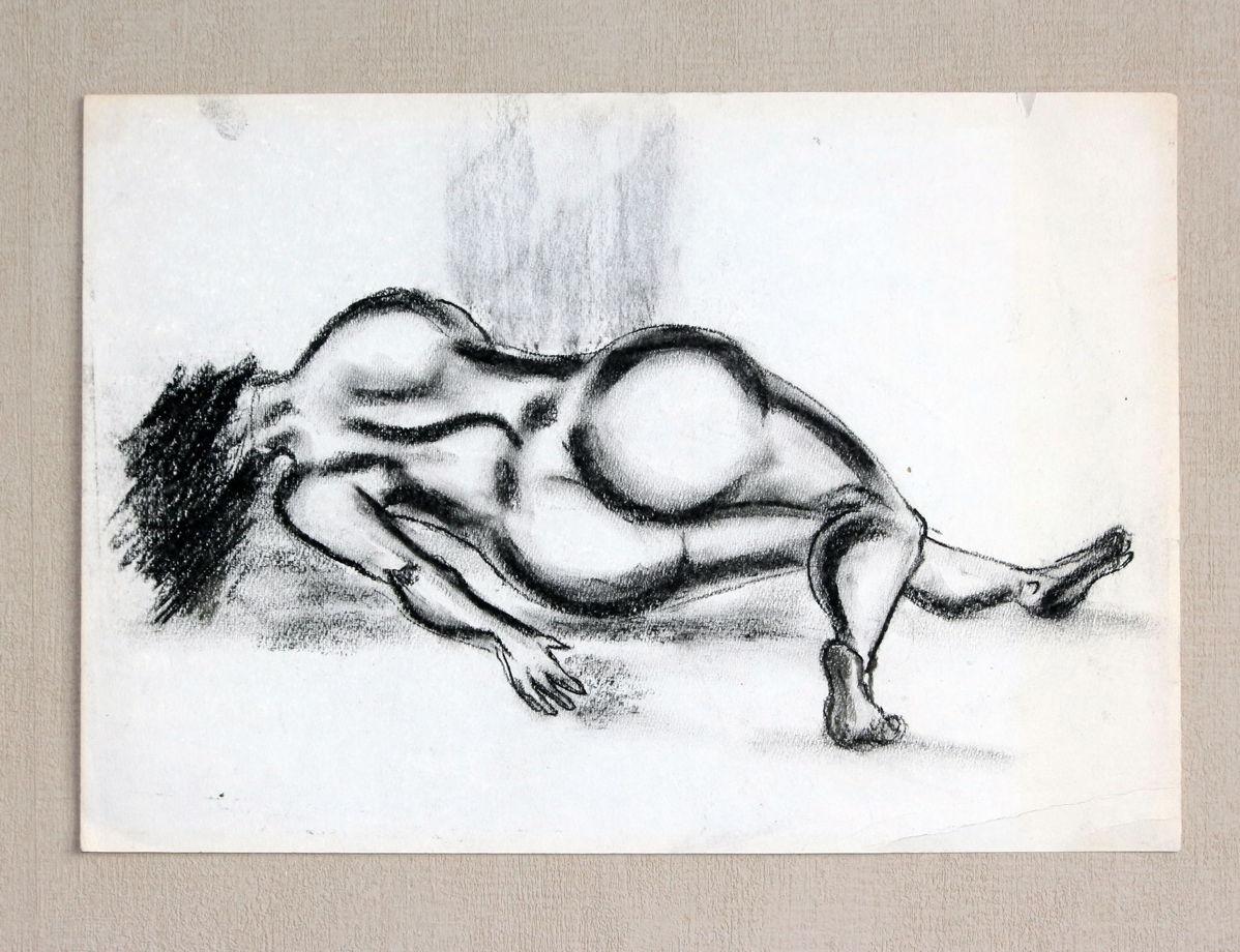 """""""Обнаженная I""""  Уголь. Бумага. Автор известный крымский художник Виктор Парафило. 80-е 25х35"""