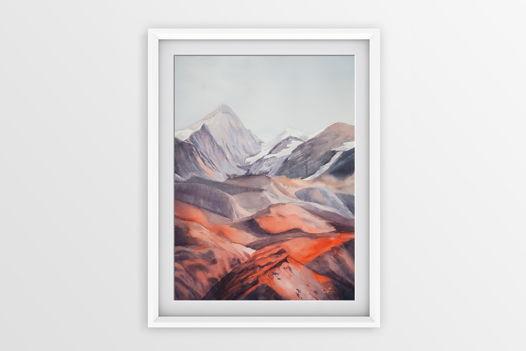 Акварельная картина Горы (28 х 38 см)