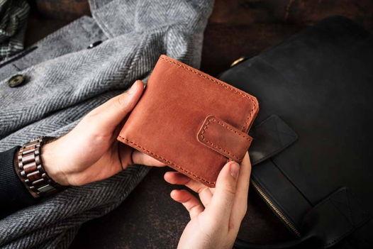Мужское портмоне из натуральной кожи с отделением для монет -PRIDE- цвет Коньяк