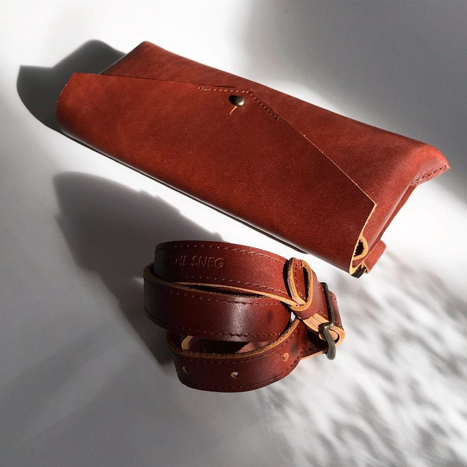 Кожаная сумка поясная/клатч Envelope Cognac