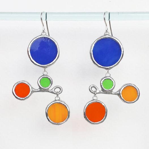 Серьги асимметричные витражные из цветного стекла Весы