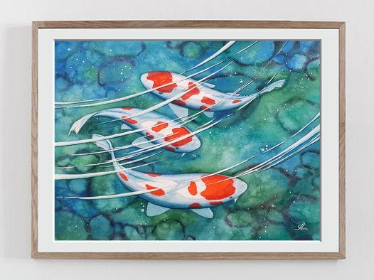 "Акварельная картина ""Японские карпы кои"" (37 х 27,5 см)"