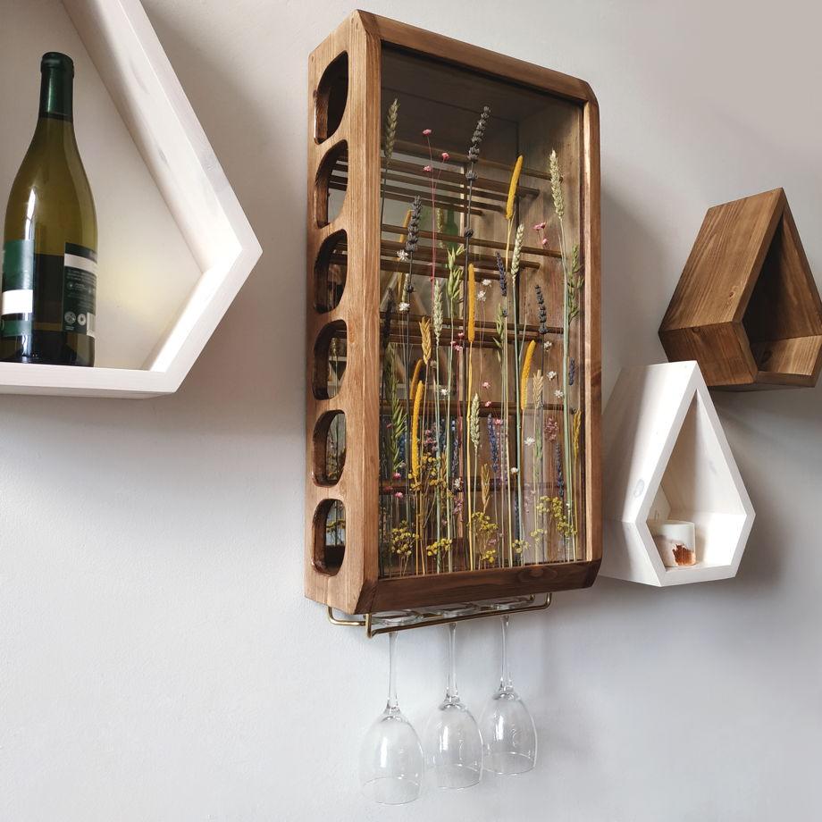 """Подвесной винный ящик из массива сосны """"Vinishko Tyan"""" (тёмный дуб) вертикальный"""