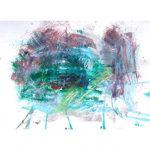 "Луна . Рисунок, акрил на бумаге, 29x40 | Moonrise | The ""Garden"" series, framed"