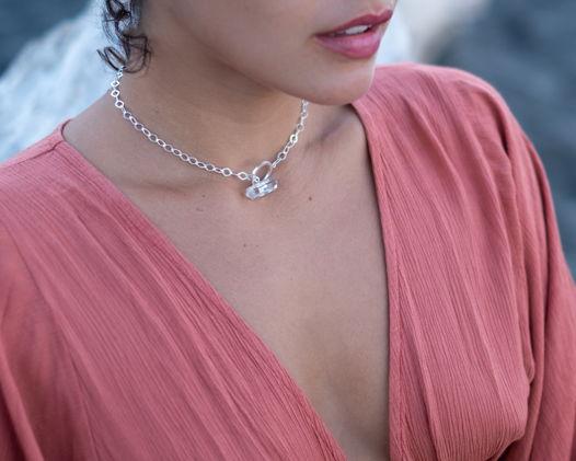 НОВИНКА - Серебряный чокер с розовым кварцем/горным хрусталем