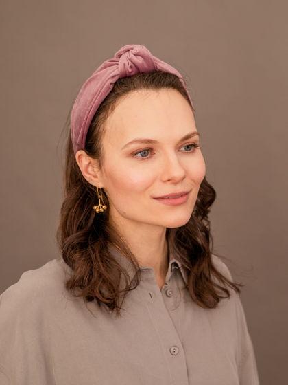 Ободок бархатный женский для волос с узлом, цвет розовый.