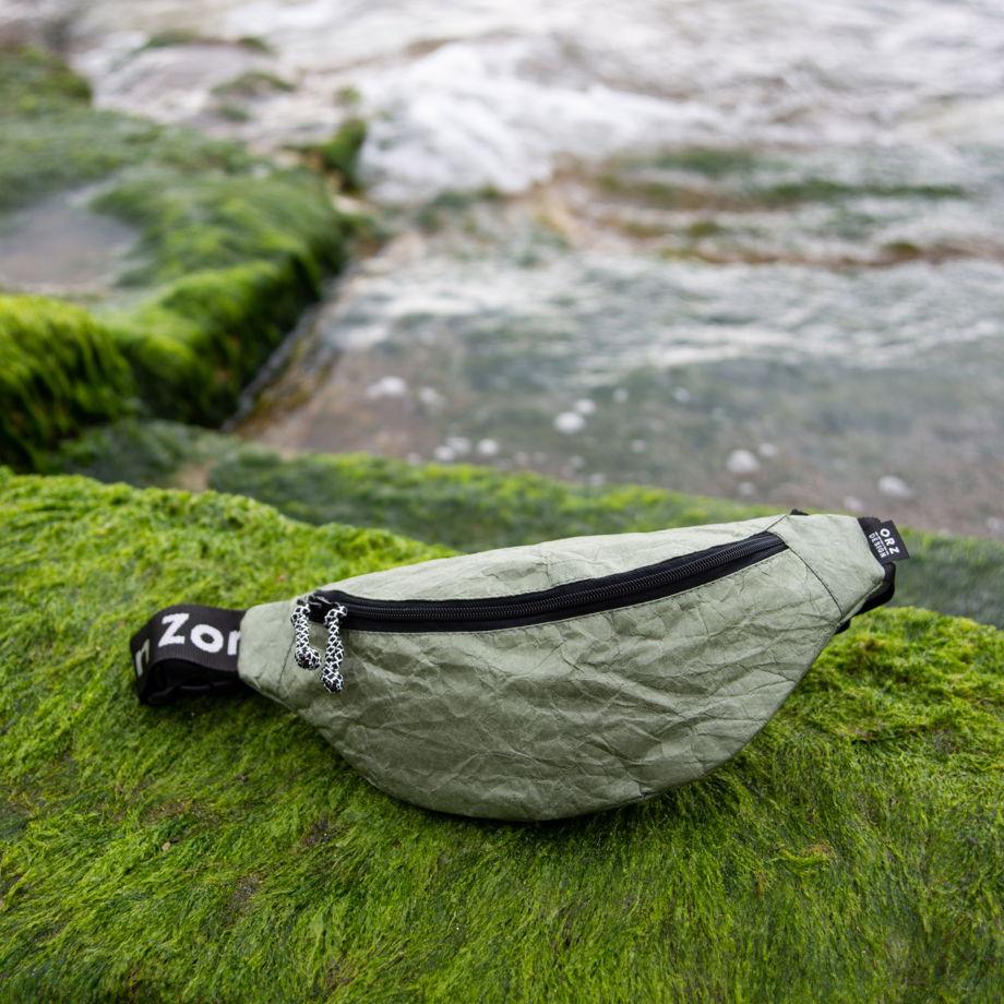 Сумка на пояс крафт-текстиль (зеленая)