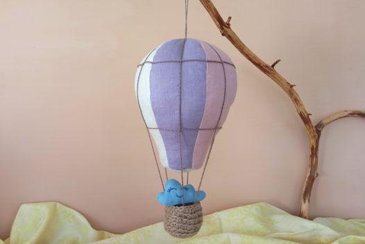 Подвесной воздушный шар изо льна ручной работы (розовый/серый/фиолетовый)