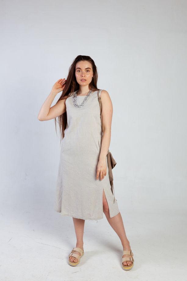 Платье миди льняное без рукавов