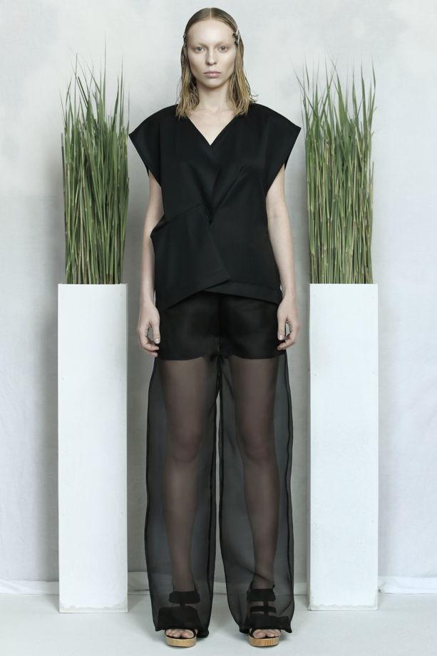 Чёрные прозрачные шелковые брюки